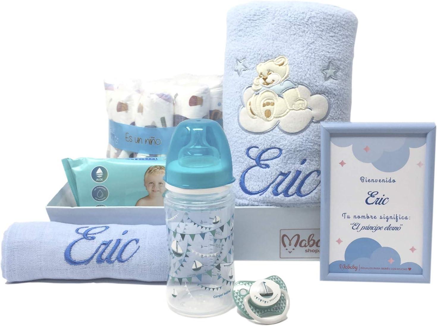 Canastilla de bebe personalizada que incluye manta bordada, muselina biberón y chupete, Modelo Mi Bibi (Azul)