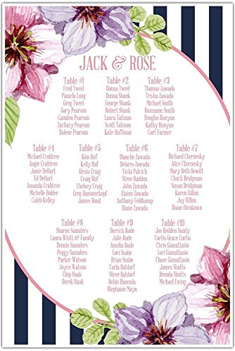 Watercolor Flowers Navy Striped Wedding Seating Chart Sign Table Reception Seats