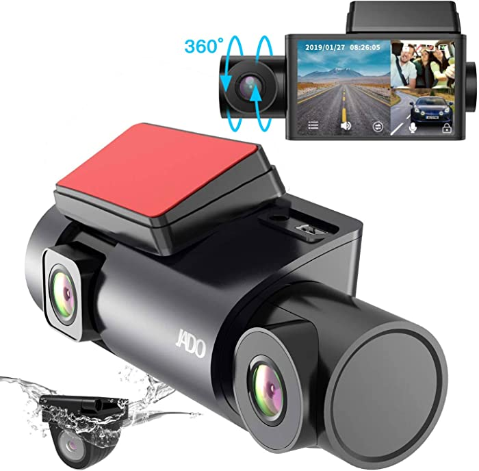 """VVCAR 3.0"""" Triple Dash Cam Dual HD 1080P Front and Rear Camera Infrared Night Vision Inside Dash Camera,170 Degrees Wide-Angle Lens Dashcam, 24hr Parking Mode, Loop, G-Sensor, Supercapacitor, D350S"""