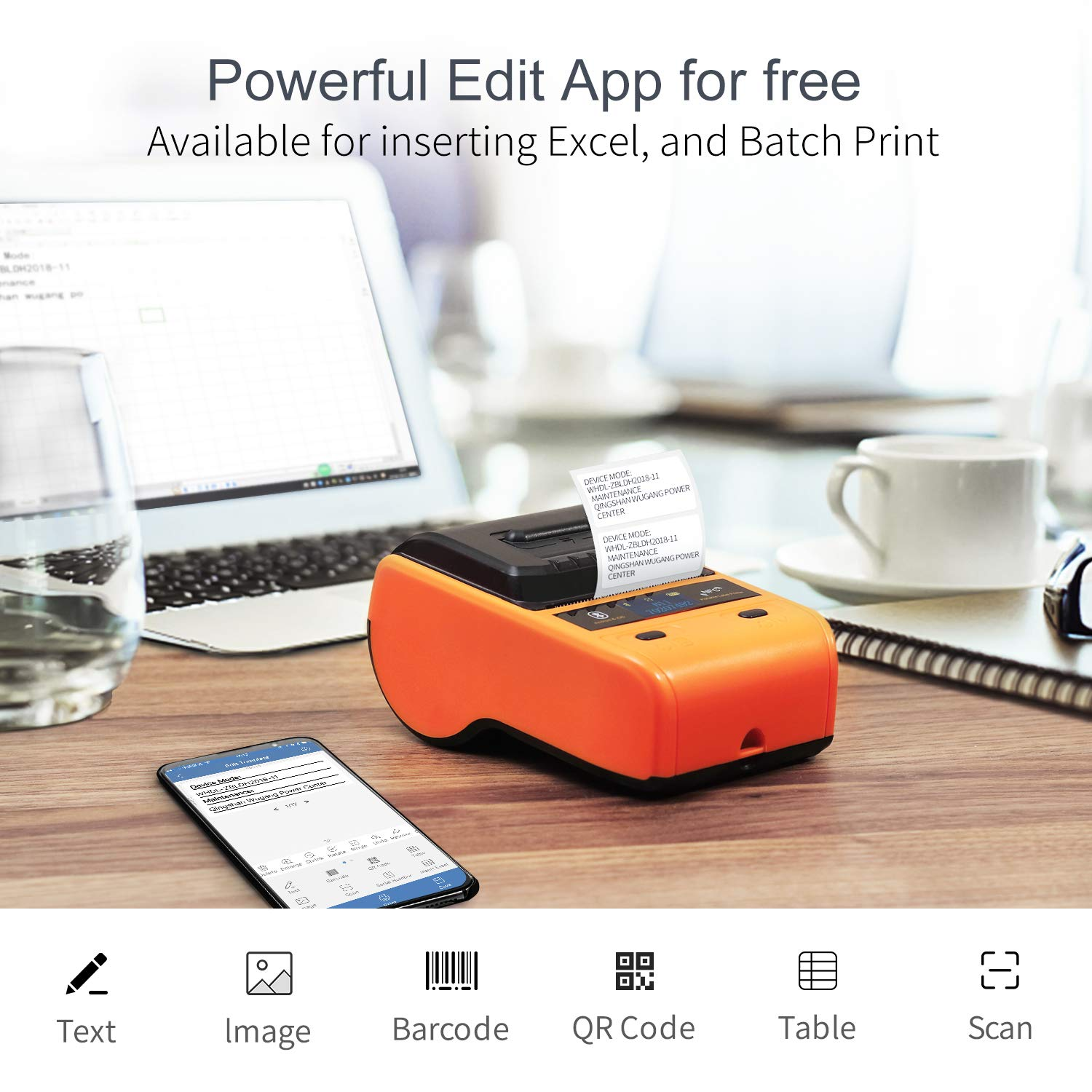 JINGCHEN B11 Bluetooth Portable Thermal Label Printer, Orange, Android & iOS, Wireless, Power & Communication, Computer-Room, Figures/Text/Images/barcodes, 1 roll for free (0.98x 1.50x1.57 in) 100 pcs by JINGCHEN (Image #6)