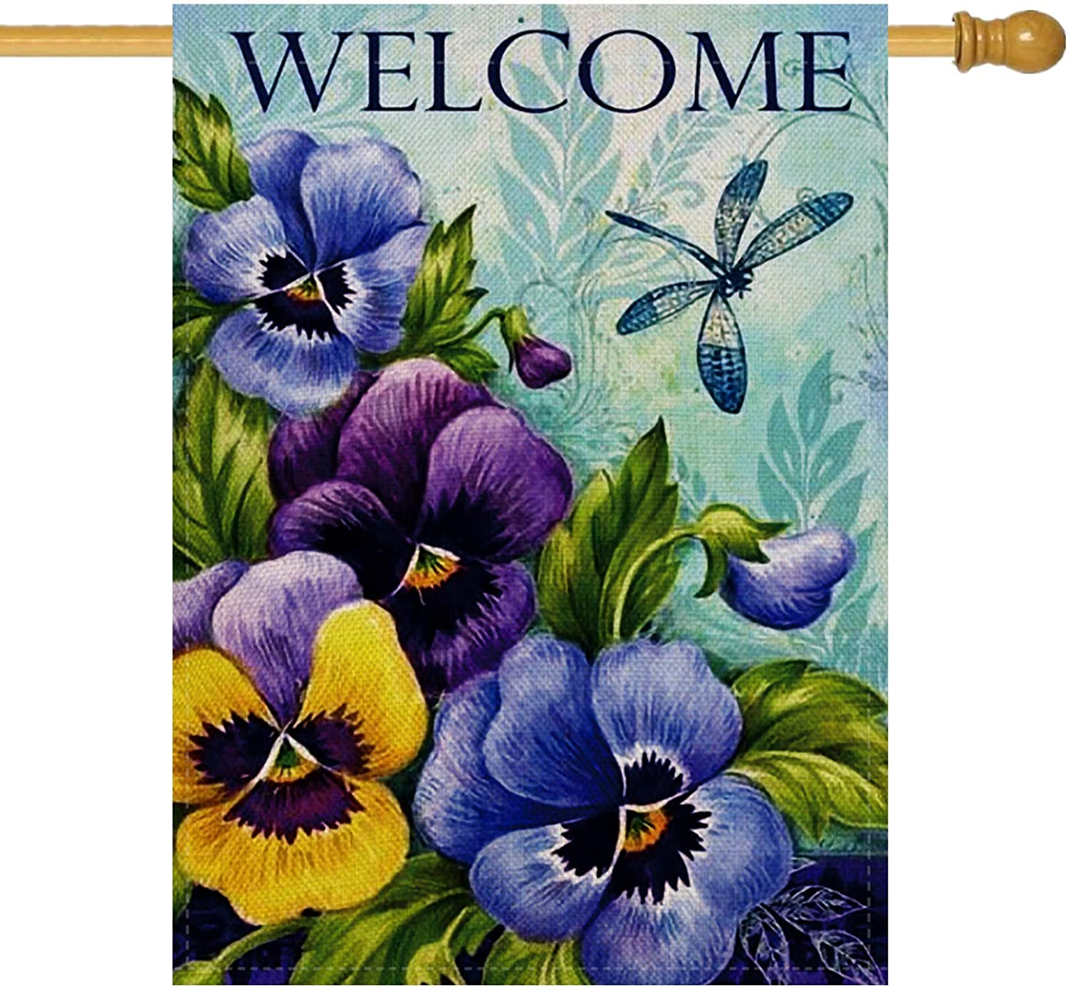 Furiaz Decorative Vintage Flower Large House Flag Double Sided, Home Floral Burlap Welcome Quote Pansies Dragonfly Outside Garden Yard Decoration, Seasonal Outdoor Décor Flag Spring Summer 28 x 40