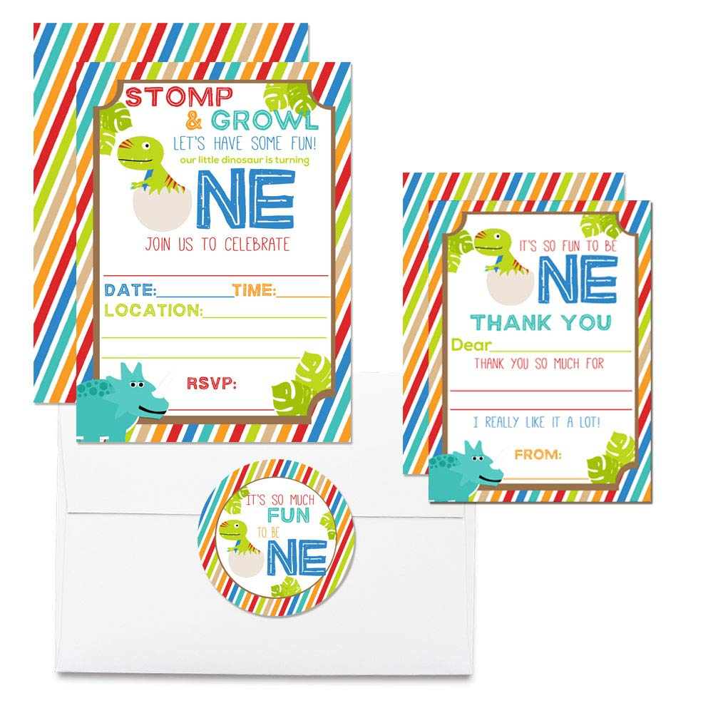Deluxe Dinosaur First Birthday Party Bundle, Includes 20 Each of 5''x7'' Fill-in Invitation Cards, Thank You Cards, Thank You Party Favor Stickers and Envelopes