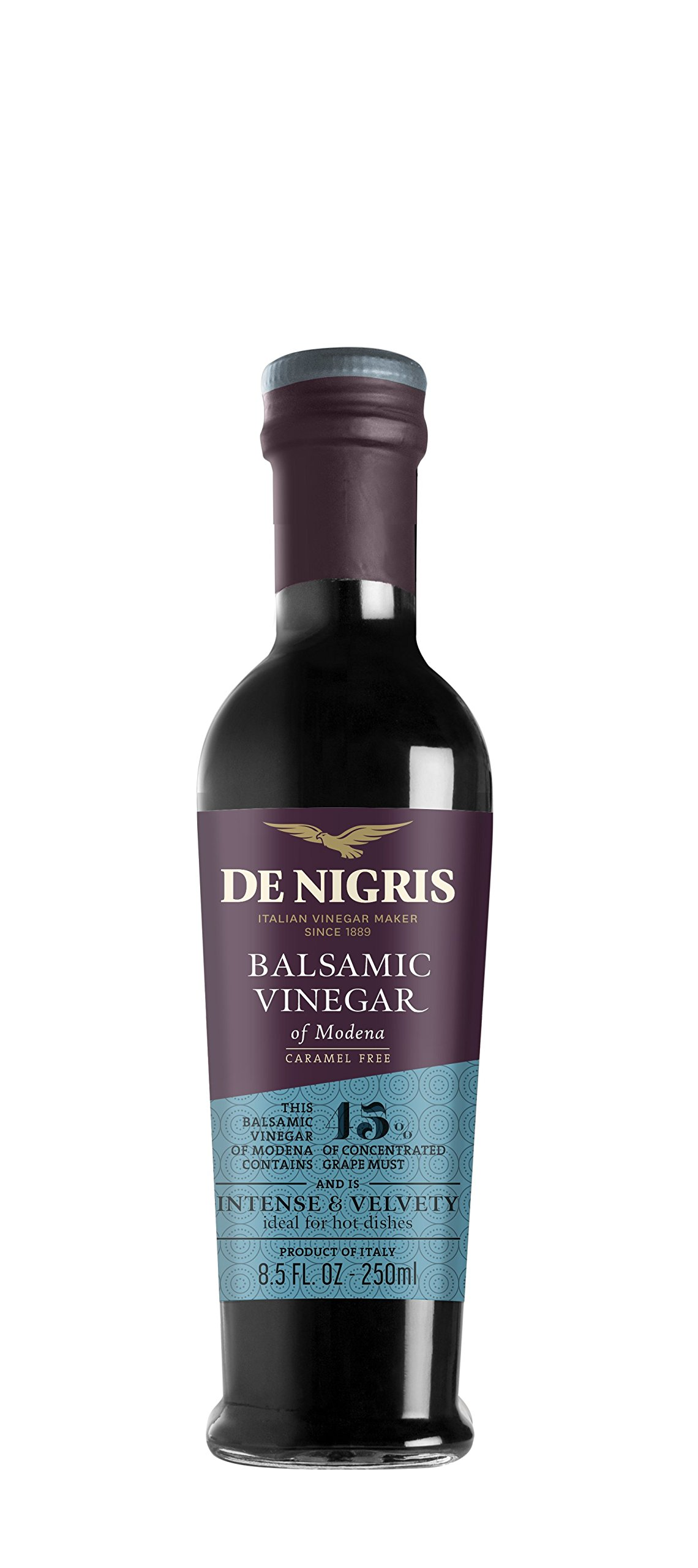De nigris silver eagle balsamic vinegar of modena - 250ml 1 balsamic vinegar of modena containing 45% grape must intense and velvety ideal for hot dishes, grilled meats, and seafood
