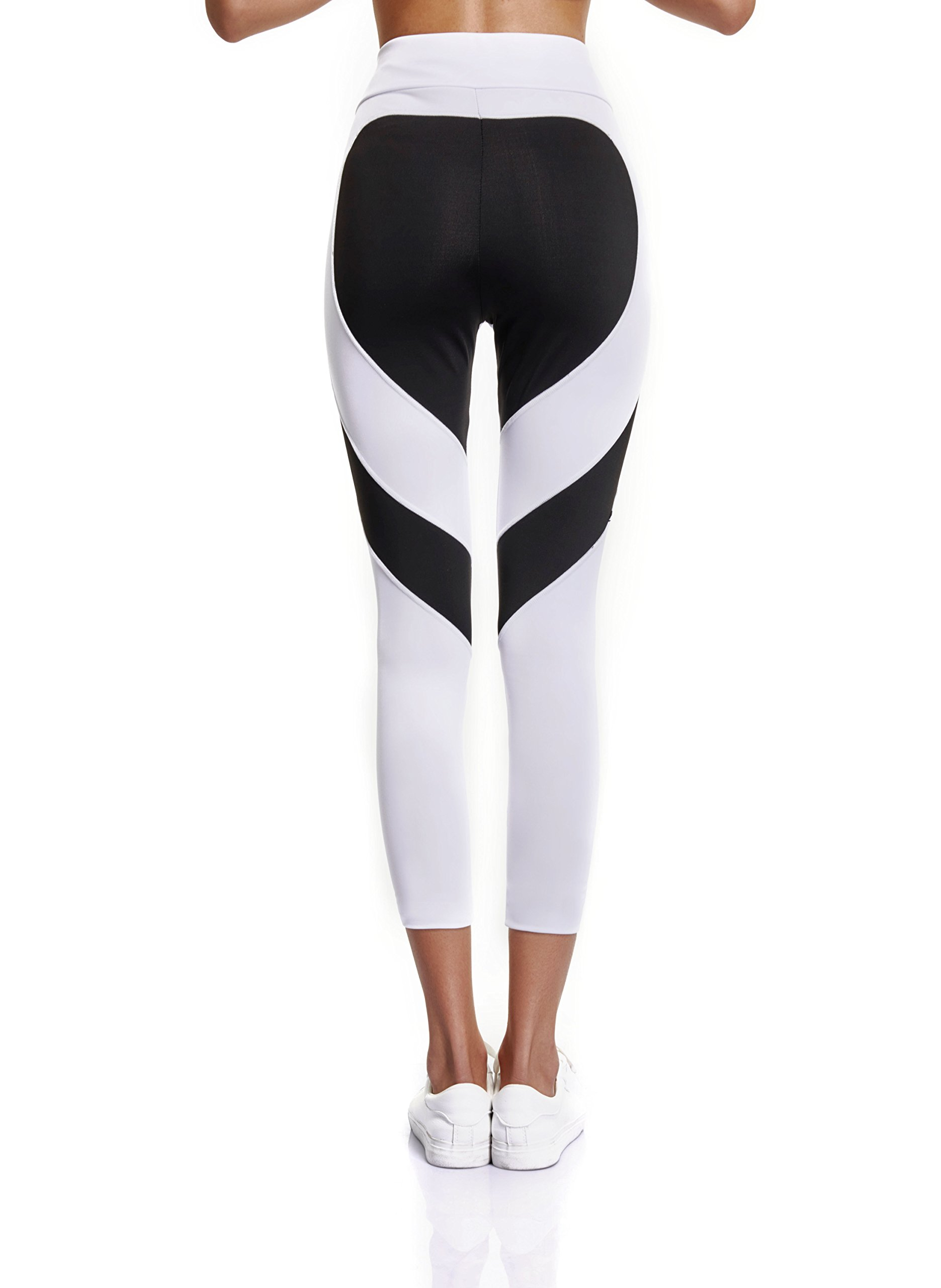 Joyshaper Capri Leggings for Women Workout Running Trousers High Waist Pants with Heart Shape (White/Black, M)