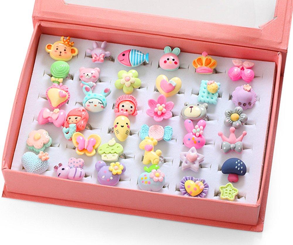 PinkSheep Kids Rings in Box, Adjustable, Mermaid Ring, Cute Bear Ring , Butterfly Flower Heart Lollipop Rings for Little Girl, 2018 Fashion Sets
