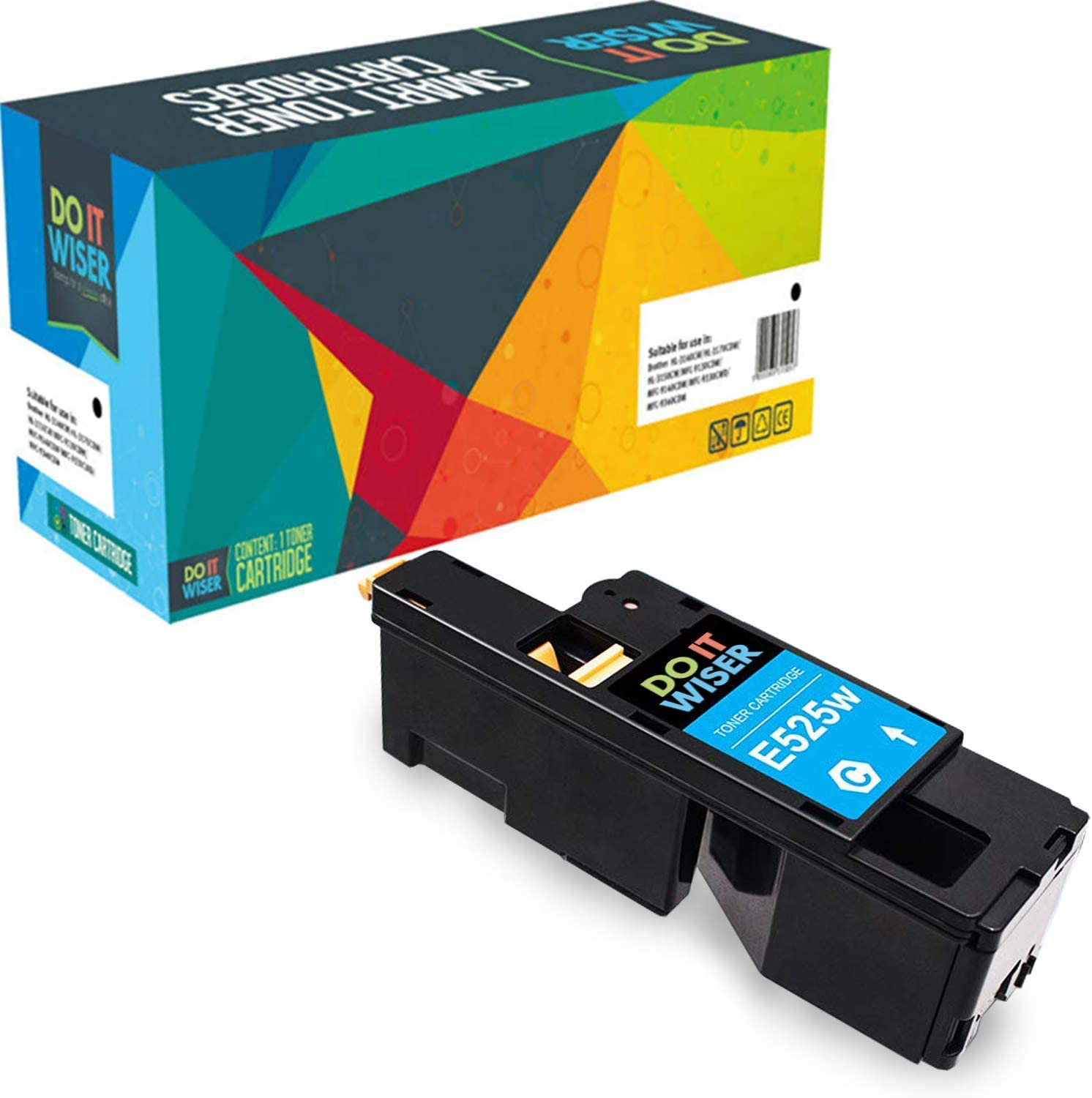 Do it Wiser Compatible Toner Cartridge Replacement for Dell E525W E525 525W | 593-BBJU Cyan