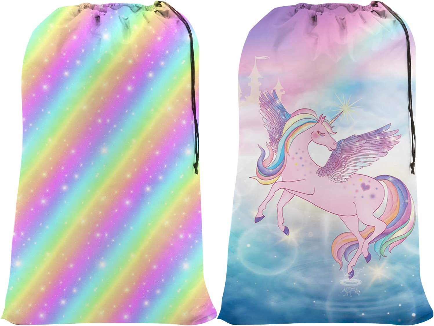 "Nidoul 2 Pack Extra Large Laundry Bag, Heavy Duty Travel Laundry Bag, Drawstring Closure Dirty Clothes Bag, Durable Rip-Stop Bag for Camp Dorm, Machine Washable 24"" x 36"" (Unicorn Rainbow)"