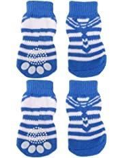 Striped Pet Dog Doggie Socks Paws Covers w/ Non-slip Bottom -Size XL