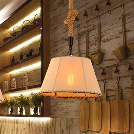 DengWu Iluminación de techo de interior Lámparas de araña Iluminación colgante El cáñamo única cabeza retro