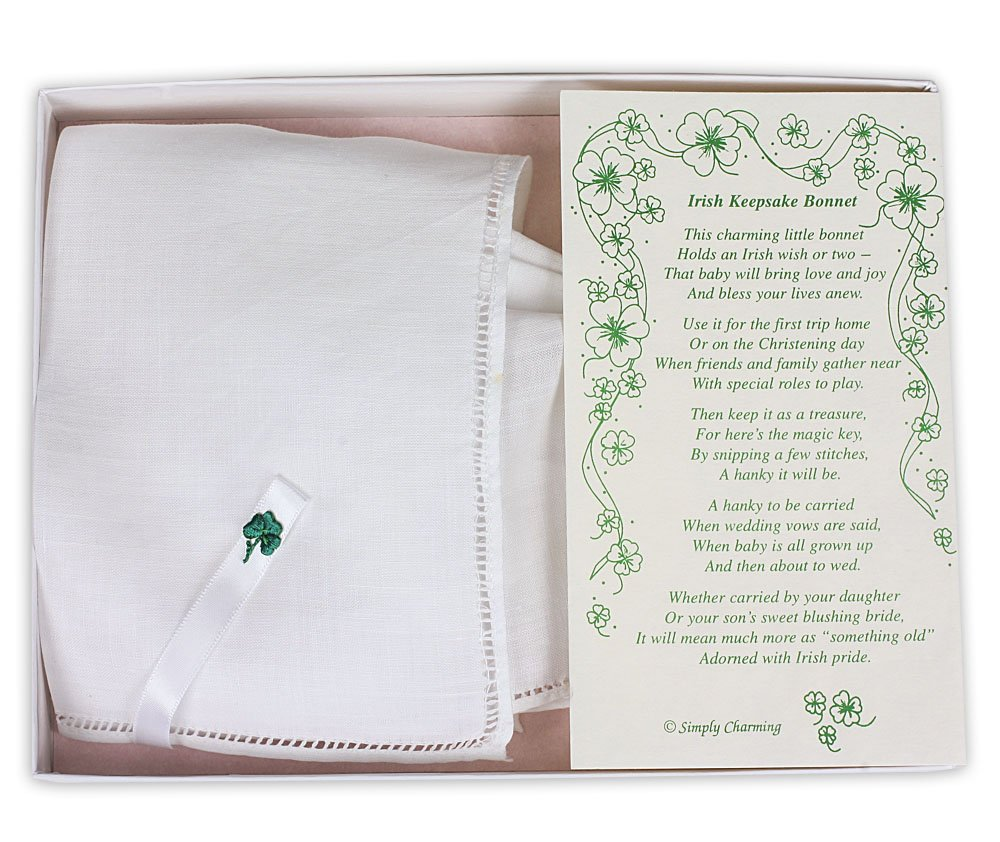 White Linen Irish Keepsake Bonnet with Embroidered Shamrock in Gift Box