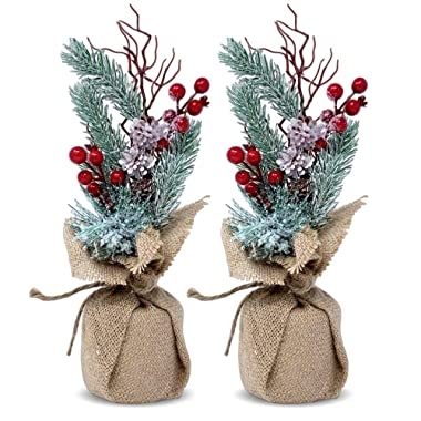Tabletop Christmas Tree - Set of 2 Pine Trees with Red Berries and Burlap - 11-Inch Flocked Xmas Tree Decor