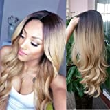 HANNE Ombre Color Long Curly Wig Heat Resistant Synthetic Cosplay Wig Full Wig for Women Party Wigs