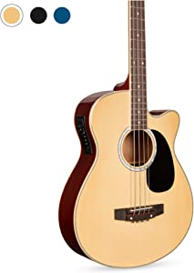 Best Choice Products 22-Fret Full Size Acoustic Electric Bass Guitar w/ 4-Band Equalizer, Adjustable Truss Rod - Natural