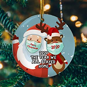 Cukudy 2020 The Year Where We All Stay Home,Santa Claus Reindeer Ornament,Funny Ornament,Mica Ornament,First Christmas ORN.