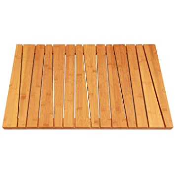 Bamboo Deluxe Shower Floor And Bath Mat   Skid Resistant   Heavy Duty Solid  Design.