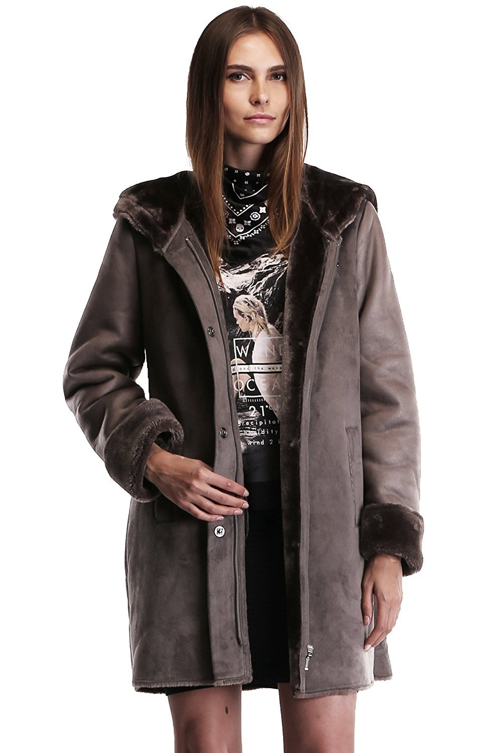 Ovonzo Women's Faux Suede Leather Zipper Snap Button Coat with Hood Size XL