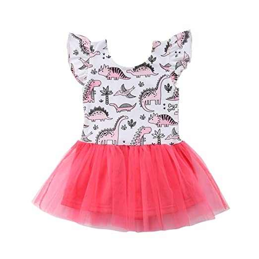 c4f39086662ff Amazon.com: sweetyhouse Toddler Baby Girls Dinosaur Print Tulle Tutu Skirt  Dress Infant Birthday Party Princess Outfit: Clothing