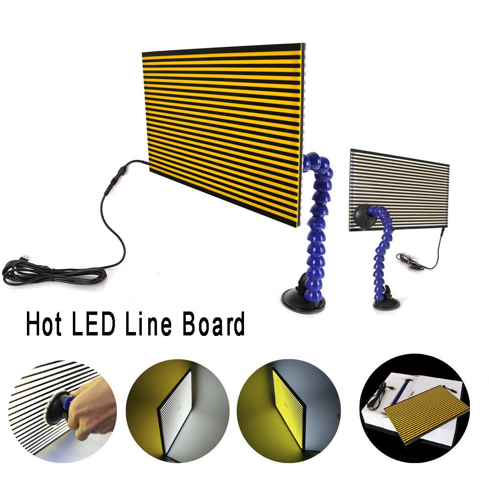 MMPP PDR Tools LED Line Board Double Stripe Reflector Board With Adjustment Holder Light Line Board For Dent Repair