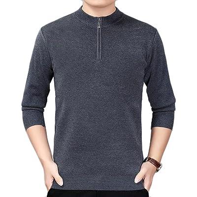 ONTBYB Mens Autumn Slim Mock Neck Half Zipper Long Sleeve Knit Sweater Pullover