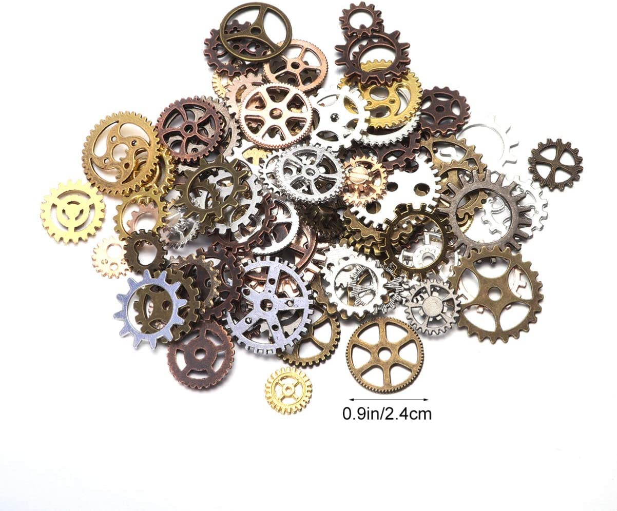 Milisten 1 Pack Alloy Jewelry Gear Charms Decorative Steampunk Pendants DIY Jewelry Rustic Pendants Mechanical Steampunk Cogs for Bracelet Necklace Making Mixed Color