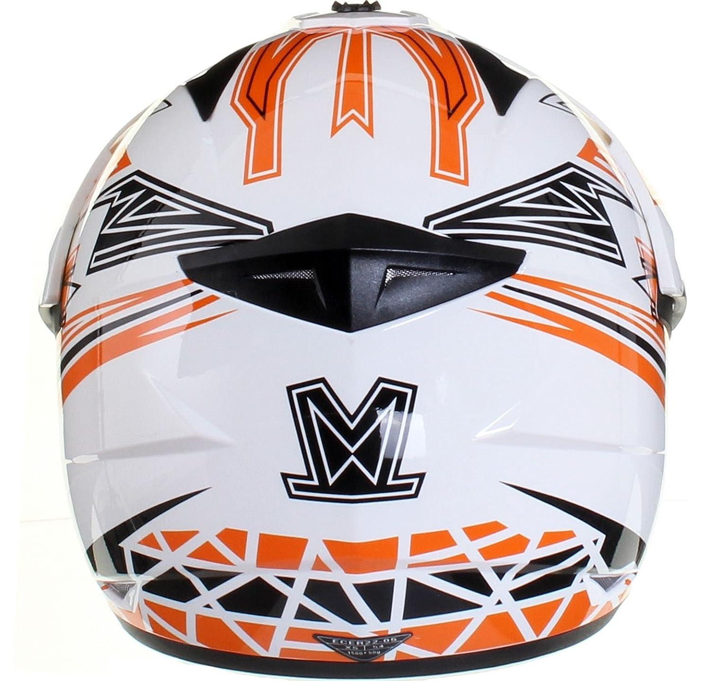 Amazon.es: Casco protector con doble visera MX - Para motocross / todoterreno / enduro / MX / cicloturismo - Naranja - L (59-60 cm)