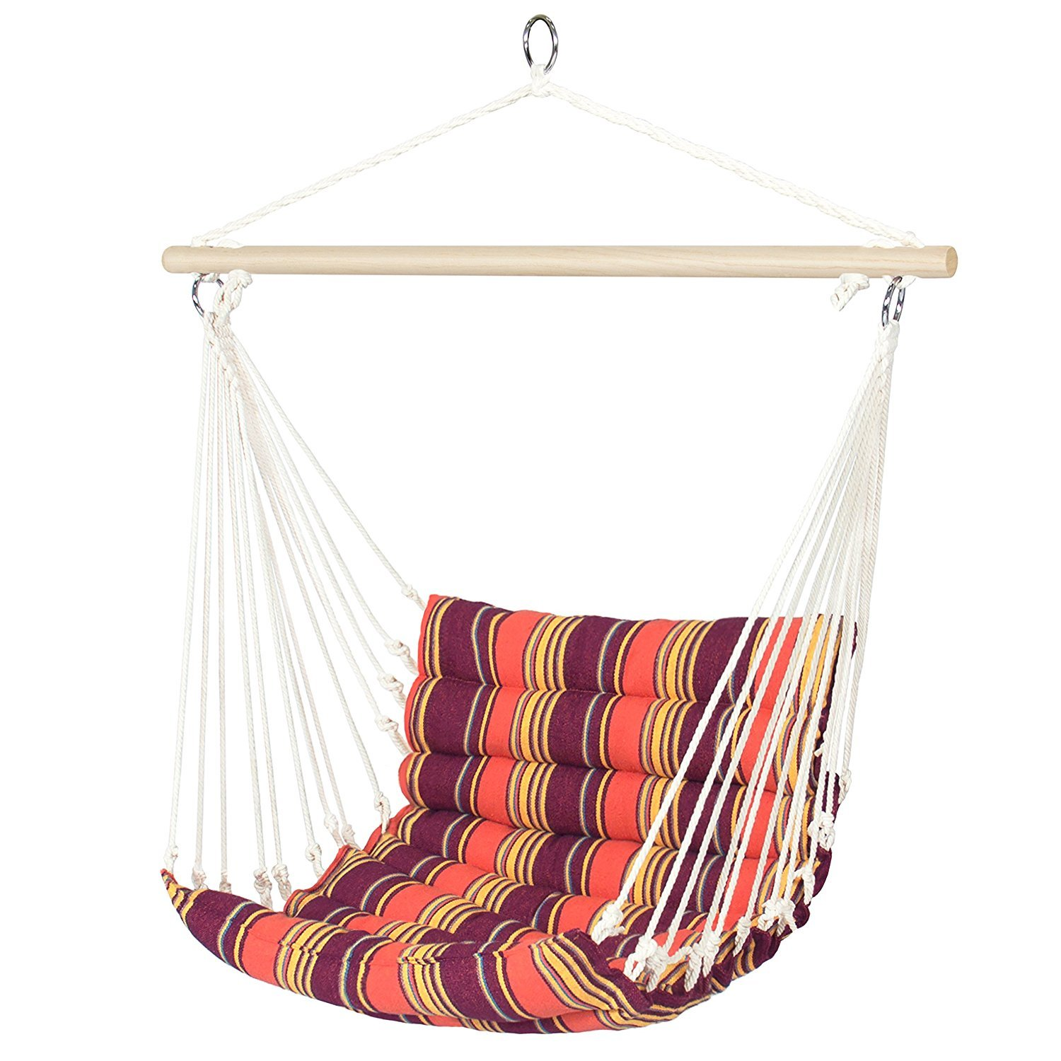 BCP Porch Swing Hammock Patio Swings Outdoor Small Hanging Cotton Chair Rope Single Seat Modern (Orange)