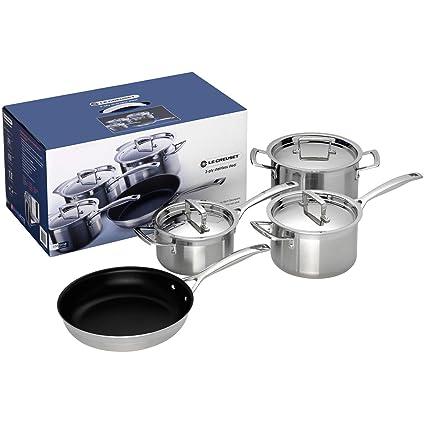 Le Creuset - Batería de cocina de 4 piezas de acero inoxidable, color pleateado