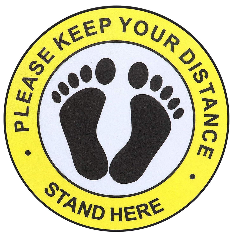 8inchs Social Distance Floor Decal Stickers 12 Packs Waterproof Non-Slip Floor Stickers Keep 6 Feet Apart Social Distance Decals Sign