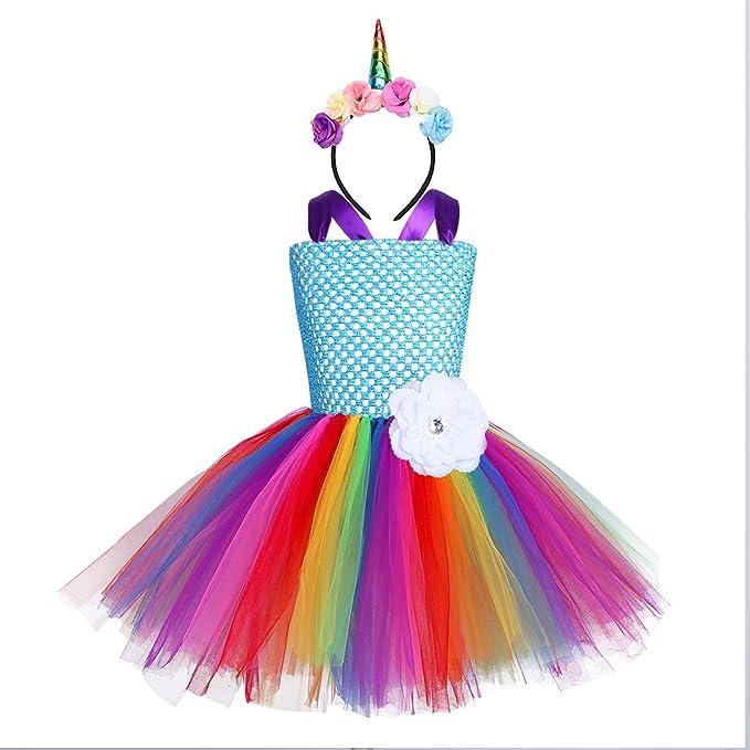 YiZYiF Vestido Niña Disfraz del Unicornio Arco Iris Ninas Vestidos de Princesa Ceremonia Actuación con Diadema