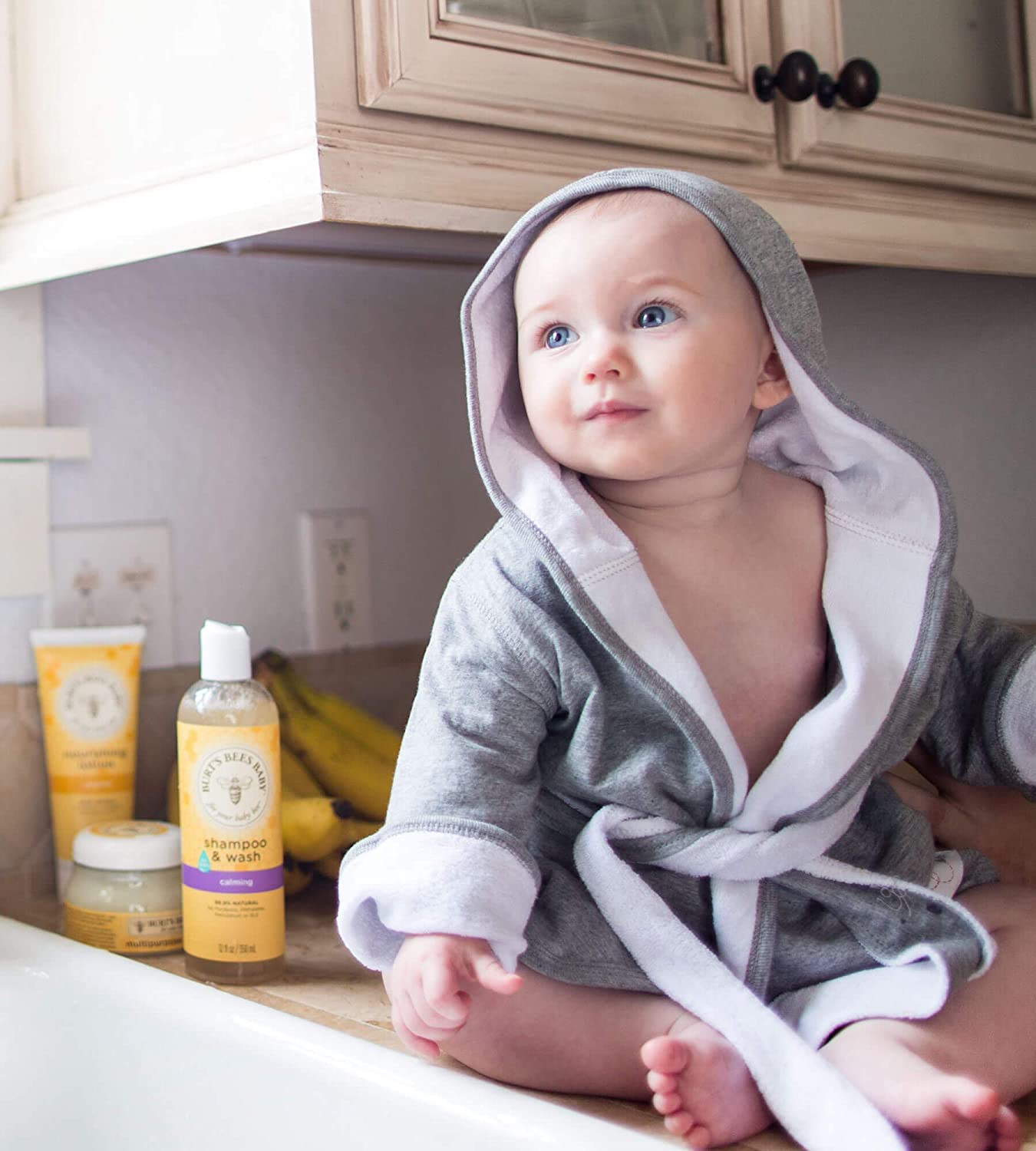 100/% Organic Cotton Infant Hooded Robe Burts Bees Baby 0-9 Months Bathrobe Absorbent Knit Terry Sky