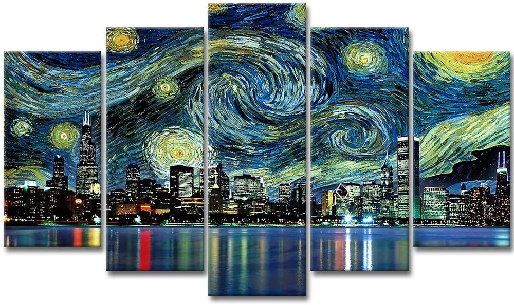 VividHome Cityscape Canvas Wall Art 5 Pieces Panoramic View of Chicago Skyline at Night Cityscape Framed Picture for Home Decoration Living Room Decor- Van Gogh Starry Night