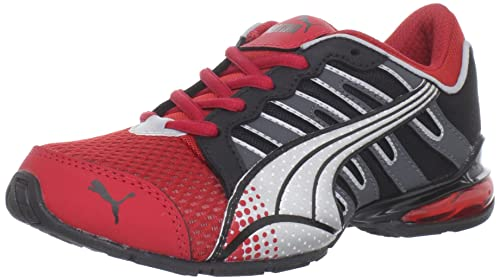 Puma Voltaic 3 - Zapatillas de running de sintético para niño rojo Red-Black-Dark Shadow-Silver 5.5 UK: Amazon.es: Zapatos y complementos