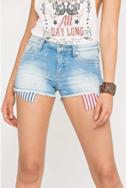 Miss Me Womens Americana Mid-Rise Denim Cutoff Shorts - M2120h