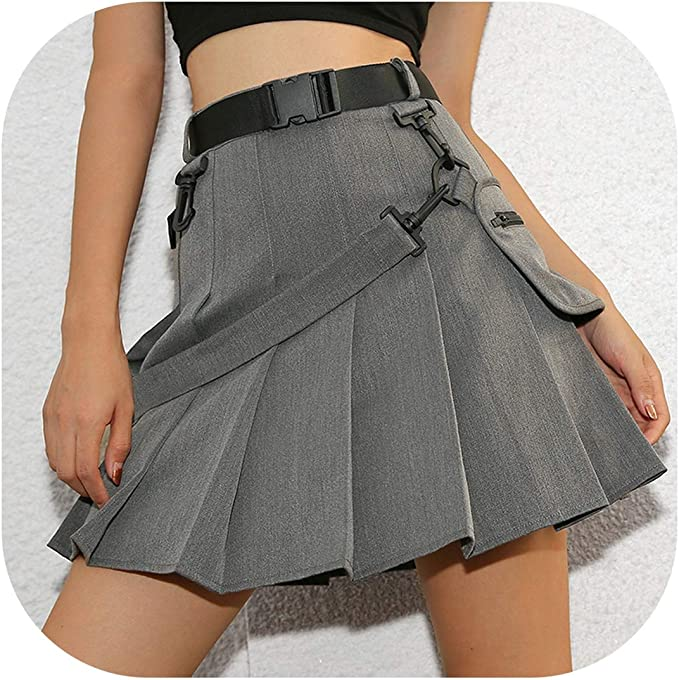 Sunjinjing-Skirt Punk Casual A-Line Mini Faldas Cortas para Mujer ...