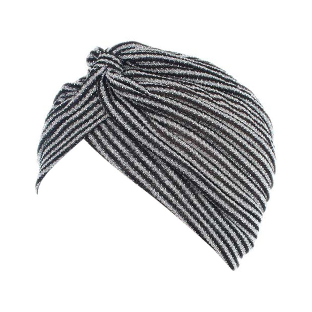 hunpta Mujer cáncer Chemo gorro de punto bufanda turbante Pañuelo para la cabeza Cap, plata