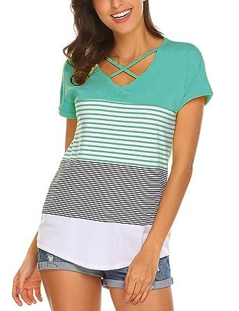 7f65b91ee246 NDLBS Women's Short Sleeve T Shirt V-Neck Criss Cross Triple Color Block  Stripe Tops