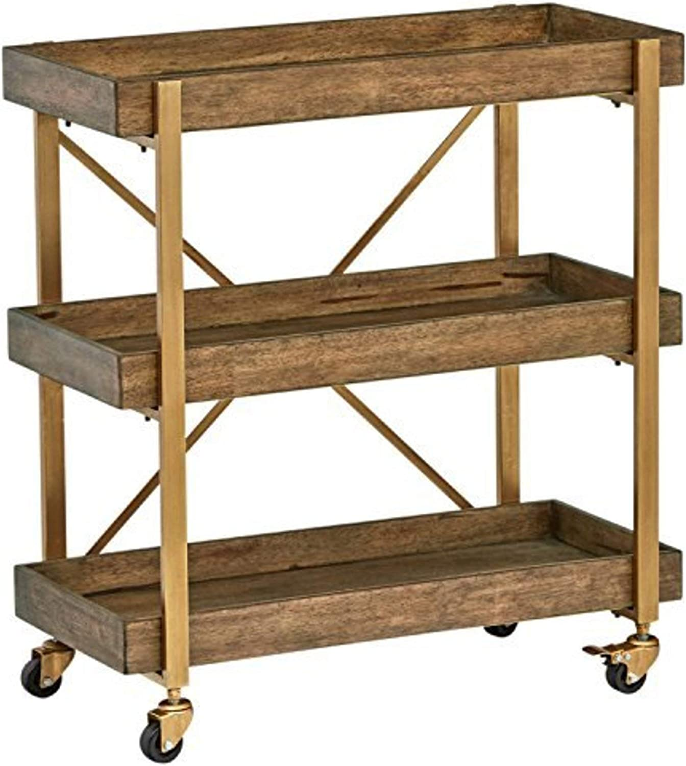 Amazon Brand – Rivet 3-Tiered Rustic Metallic Rolling Wood and Metal Bar Cart, 29.9