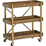 "Amazon Brand – Rivet 3-Tiered Rustic Metallic Rolling Wood and Metal Bar Cart, 29.9""W, Natural"