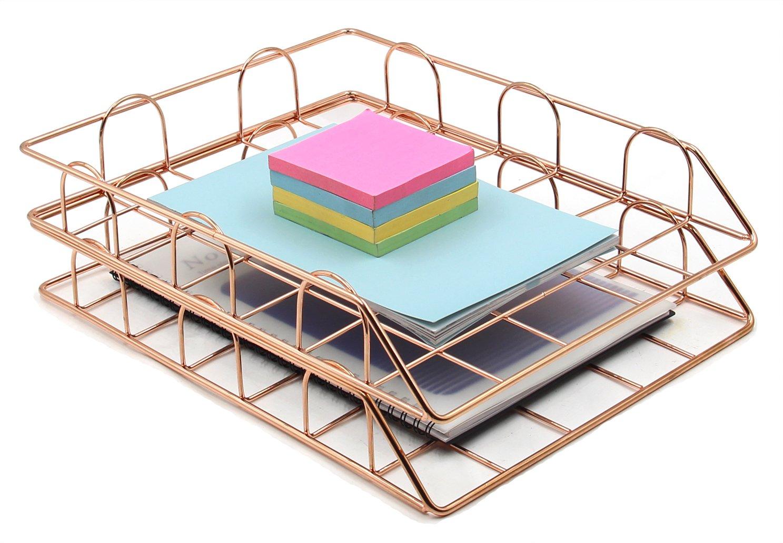 Superbpag Stackable Desktop Letter Tray Organizer, Set of 2, Copper
