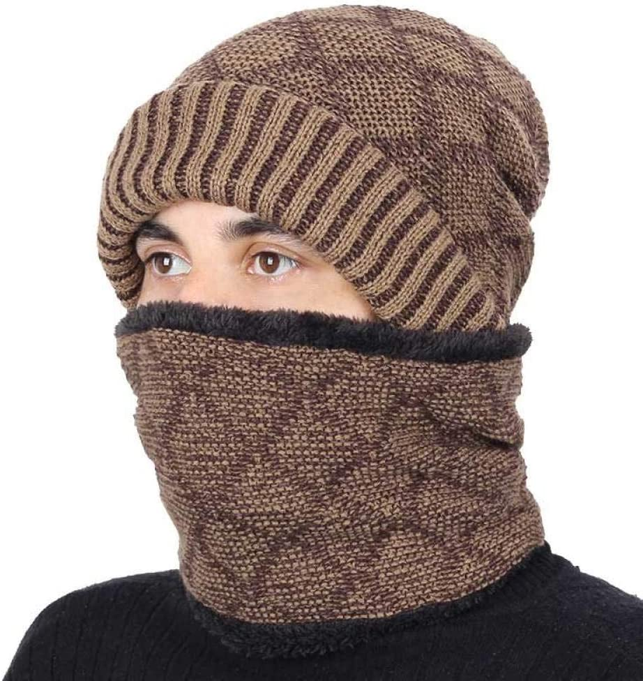 Winter Hat Scarf Men Women Knitting Warm Beanie Hat Ring Scarves Unisex Solid Color Bonnet@Khaki