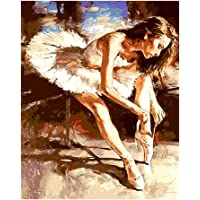 Junlinto Ballet Dancer Tie The Shoelace Unframed DIY Paint By Numbers Pittura a Olio Home Decor