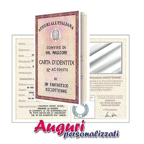 Biglietto Compleanno Auguri Carta D Identita 18 Anni Amico Amazon
