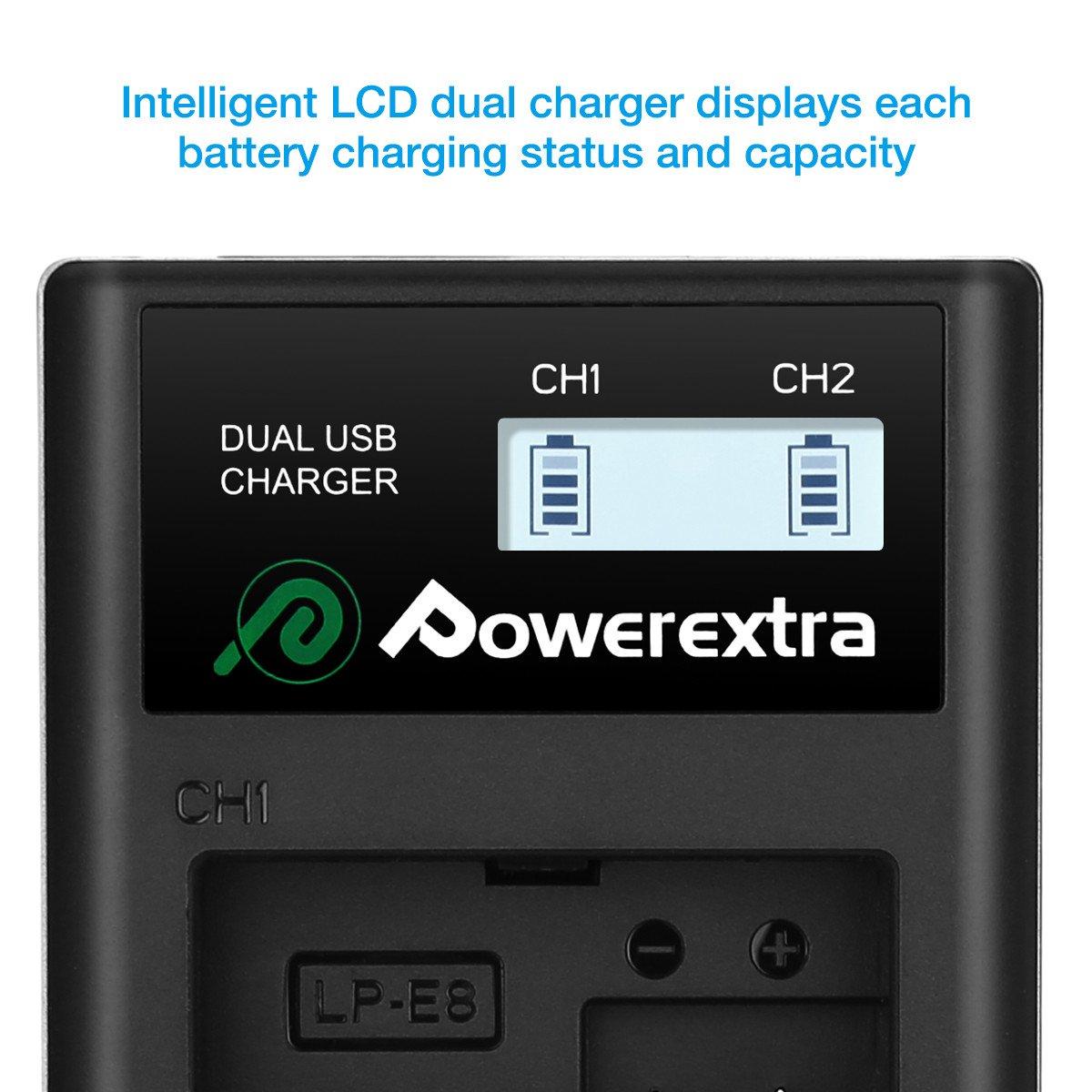 Power Extra LCD Dual Cargador para Bater/ía Canon LP-E8/para Canon EOS 550d 600d 650d 700d