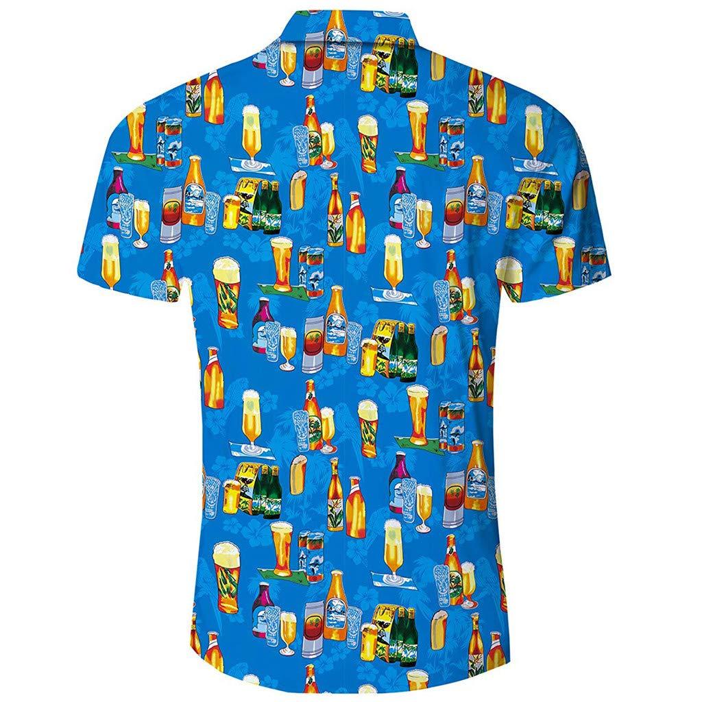 men Floral Dress Shirt Beach Casual Style Printed Shirt Short Sleeve Button Down Shirts STORTO
