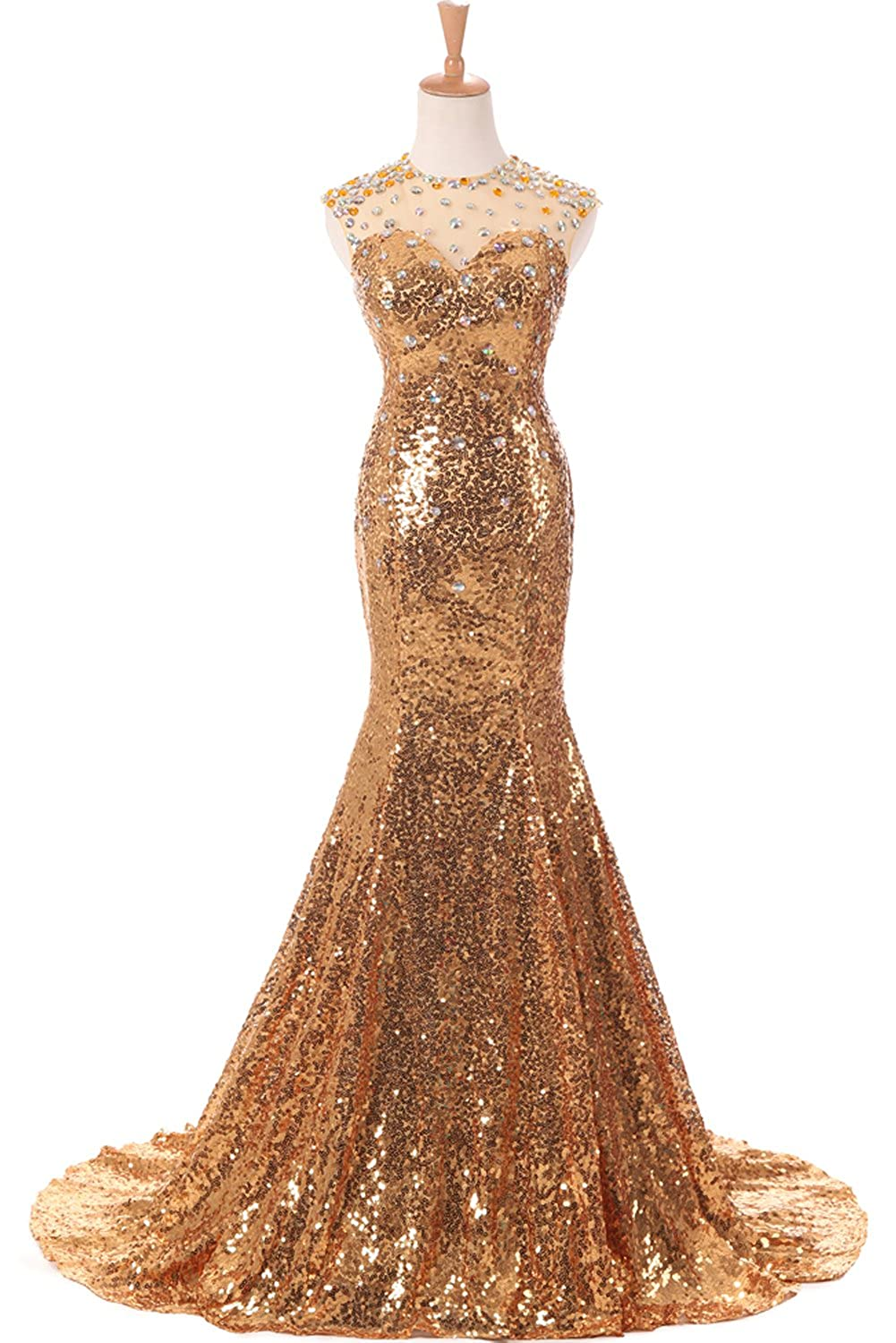 Amazon.com: Sunvary Designer Gold Mermiad Sequins Prom Dance Gown ...