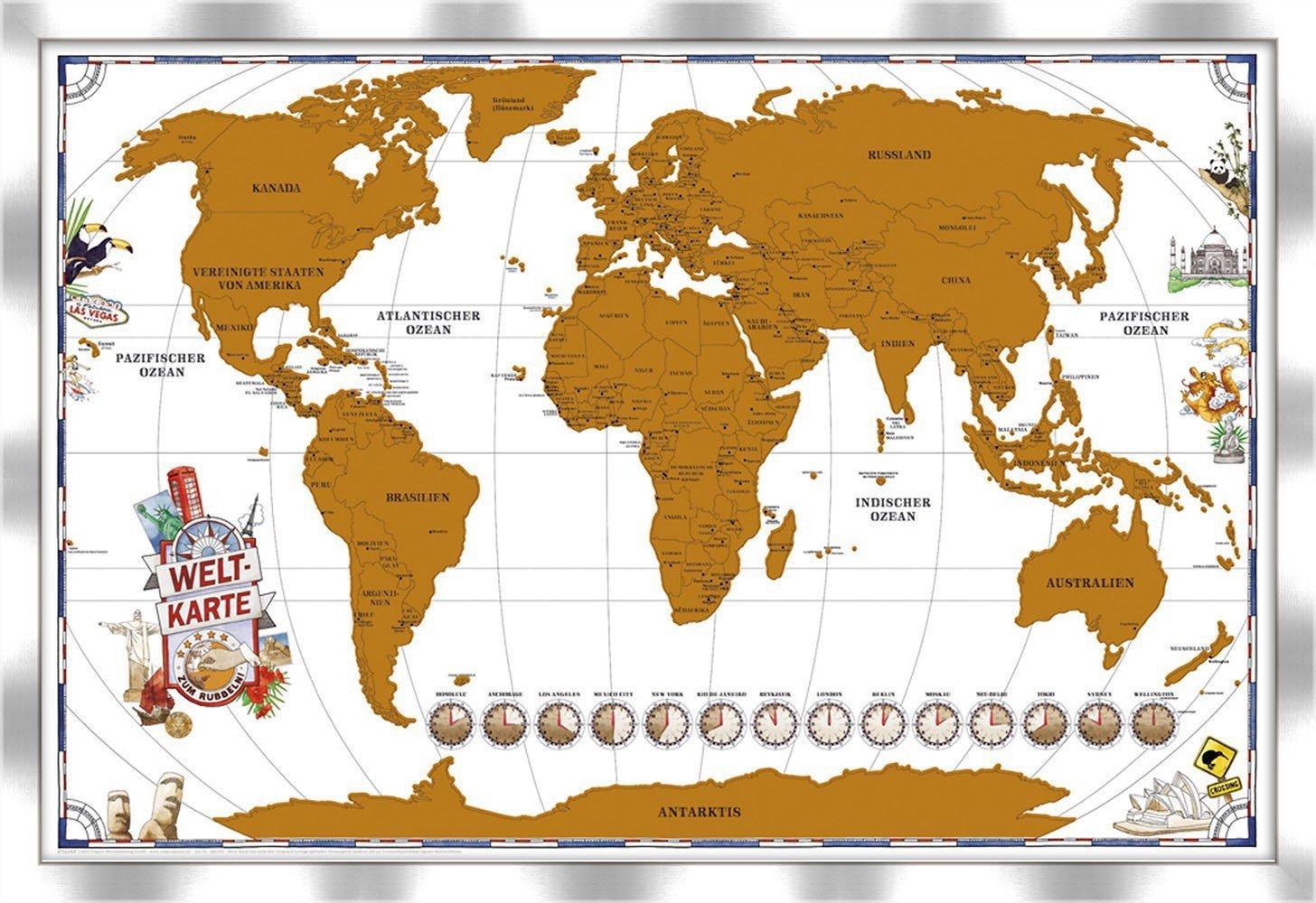 artissimo, Rubbelweltkarte gerahmt, Weltkarte mit Rahmen, 96x66cm ...