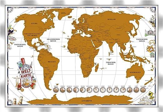Artissimo Rubbelweltkarte Gerahmt Weltkarte Mit Rahmen 96x66cm