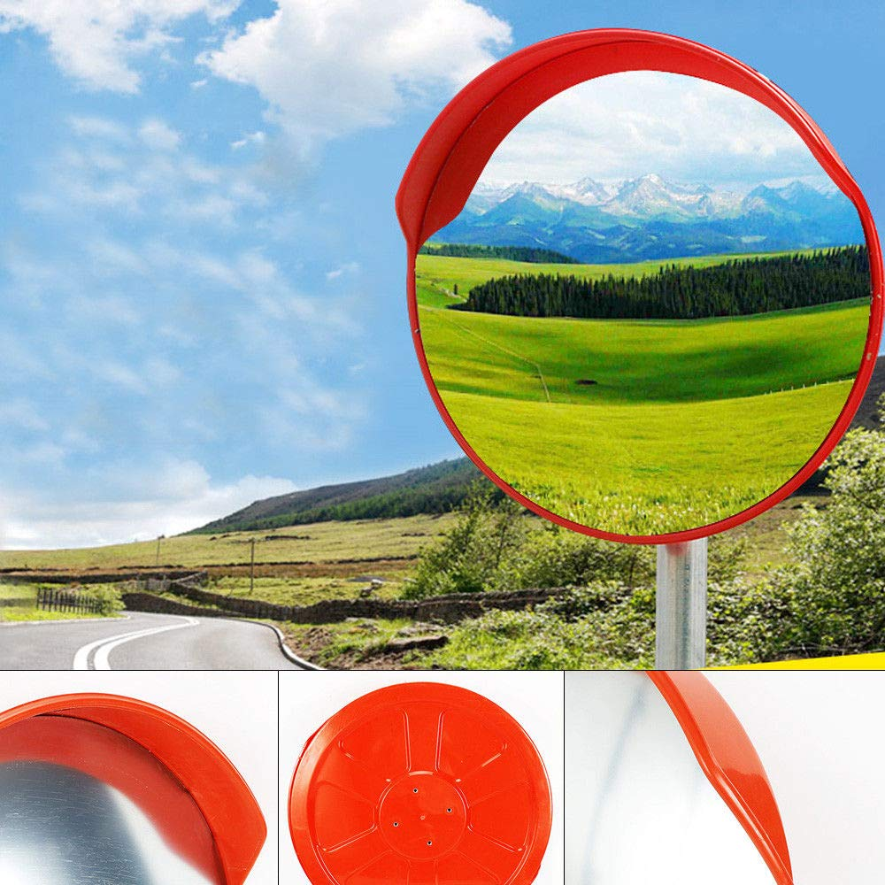 Convex Mirror,17.7'' Wide Angle Traffic Mirror Blind Spot Security Curved Convex Road PC Mirror Driveway Traffic USA Stock