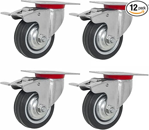 4 Pcs Swivel Caster Wheels w// Total Locking Brake Locks /& 360 Degrees Rotate
