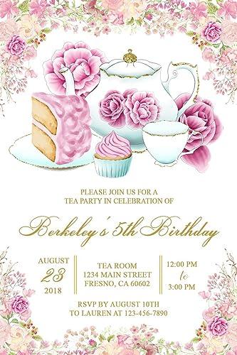 amazon com tea party birthday invitations high tea invitations